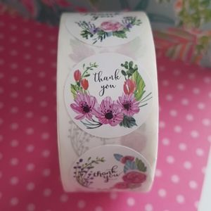 """500 pcs Flowers Thank You Stickers 1"""" Inch"""